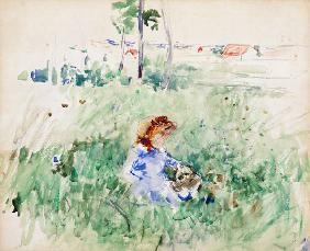 Young Girl Seated on the Lawn 1882  on