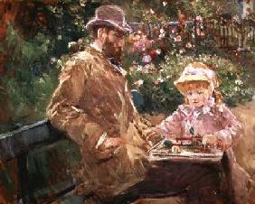 Eugene Manet (1833-92) with his daughter at Bougival c.1881