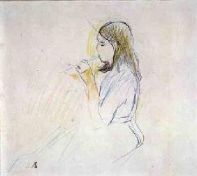 Manet's Daughter Playing the Recorder