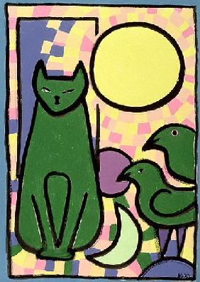 Sun Cat, 2000 (oil, pastel & Indian ink on paper)