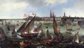 View of the Port of Antwerp during the Celebrations of the Taking of Breda, 1628 (oil on canvas) 1859