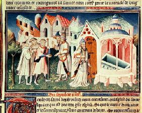 Ms Fr 2810 fol.274 Pilgrims in front of the Church of the Holy Sepulchre of Jerusalem (vellum) 18th