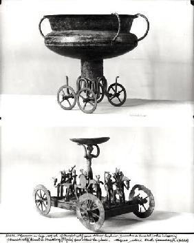 Two votive chariots for collecting rainwater: Top - cup supported on four wheels from the Peccatel t