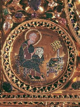 The Pala d''Oro, detail of St. Matthew (gold & enamel inlaid with precious stones)