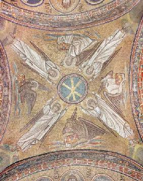 Four angels with the symbols of the evangelists surrounding the chi-rho monogram of Christ, from the