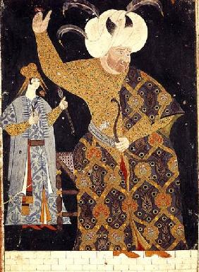 Portrait of Sultan Selim II (1524-74) firing a bow and arrow
