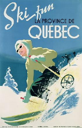 Poster advertising skiing holidays in the province of Quebec c.1938
