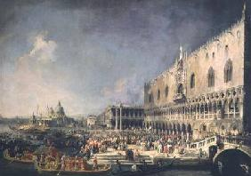 Kunstdruck von Giovanni Antonio Canal (Canaletto) - The Reception of the French Ambassador in Venice