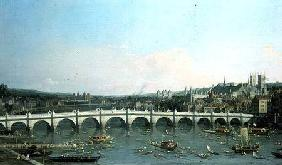 Kunstdruck von Giovanni Antonio Canal (Canaletto) - Westminster Bridge from the North with Lambeth Palace in distance
