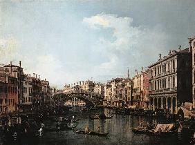 Kunstdruck von Giovanni Antonio Canal (Canaletto) - Die Rialtobrücke von Süden