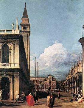 Kunstdruck von Giovanni Antonio Canal (Canaletto) - Die Piazzetta gegen den Torre dell`Orologio