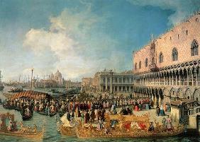 Kunstdruck von Giovanni Antonio Canal (Canaletto) - Empfang des kaiserlichen Botschafters im Dogenpalast