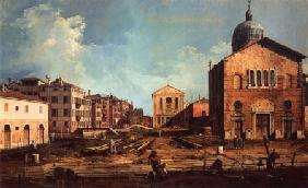 Kunstdruck von Giovanni Antonio Canal (Canaletto) - Der Campo San Guiseppe di Castello und die chiesa San Niccolò di Castello