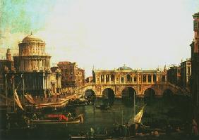 Kunstdruck von Giovanni Antonio Canal (Canaletto) - Canal Grande mit imaginärer Rialtobrücke und anderen Gebäuden