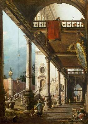 Kunstdruck von Giovanni Antonio Canal (Canaletto) - Capriccio mit Kolonade