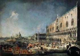 Kunstdruck von Giovanni Antonio Canal (Canaletto) - Empfang eines französischen Gesandten in Venedig