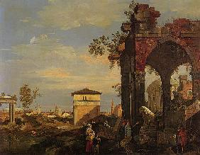 Kunstdruck von Giovanni Antonio Canal (Canaletto) - Landschaft mit Ruinen