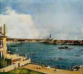 Kunstdruck von Giovanni Antonio Canal (Canaletto) - Die Themse und die Innenstadt von London von Richmond House aus