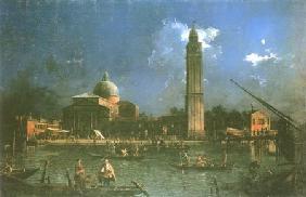 Kunstdruck von Giovanni Antonio Canal (Canaletto) - Das nächtliche Fest vor der Kirche San Pietro di Castello (La Vigilia di San Pietro)