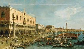 Kunstdruck von Giovanni Antonio Canal (Canaletto) - Palazzo Ducale and the Riva degli Schiavoni, Venice