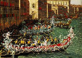 Kunstdruck von Giovanni Antonio Canal (Canaletto) - Regatta auf dem Canale Grande vor dem Palazzo Foscari (Detail)