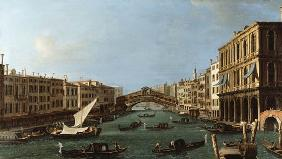 Kunstdruck von Giovanni Antonio Canal (Canaletto) - View of the Grand Canal from the South, the Palazzo Foscari to the right and the Rialto Bridge beyon