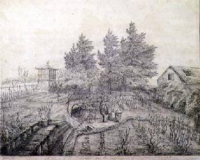A View of Napoleon I's Gardens on the East Side of Longwood House 1821 cil o