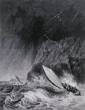 The boats off Walden Island in a snow storm, August 12th 1827, from 'Journal of a Third Voyage for t 1922