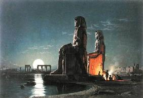 The Colossi of Memnon, Thebes, one of 24 illustrations produced by G.W. Seitz printed c.