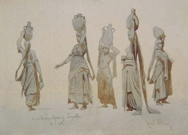 Female water carriers, Nazareth 1859 cil a