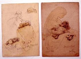 Two studies of a mother and child 1864 cil a