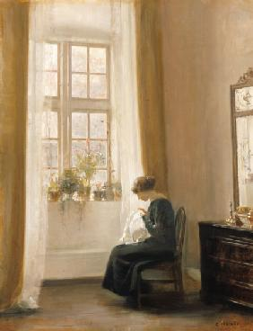 A Girl Sewing in an Interior 18th