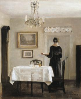 Interior with Lady Carrying Tray,c.1905 (oil on canvas) 19th
