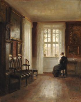 Interior with Woman Sewing 19th