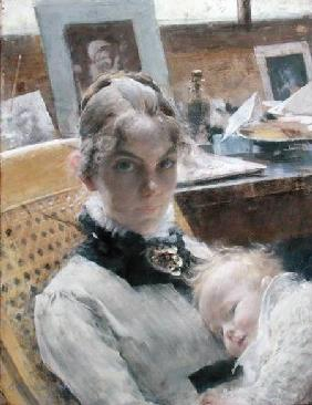 A Studio Idyll: The Artist's Wife and their Daughter Suzanne 1885
