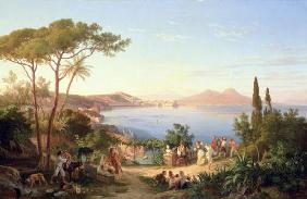 Bay of Naples with Dancing Italians, c.1850 (oil on canvas) 1815