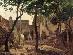 Farmyard near Sorrento, 1827 (oil on canvas) 1905