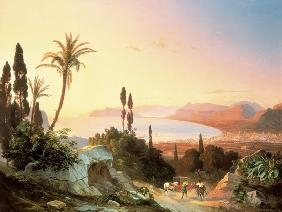 Gulf of Palermo, looking towards Cape Zafferano c.1845