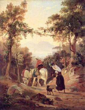 Italian Landscape with Peasants, c.1845 (oil on wood) 1815