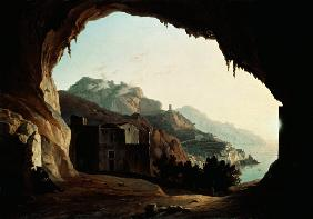 Grotto near Amalfi, c.1828 (oil on canvas) 19th