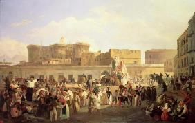 Neapolitan Folk Life at the Largo di Castello, c.1850 (oil on canvas) 1815