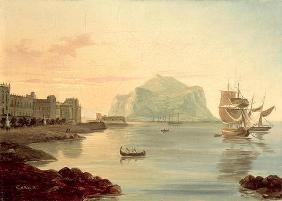 Palermo Harbour with Mount Pellegrino, 1831 (oil on canvas) 18th
