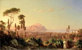 Palermo with Mount Pellegrino, c.1850 (oil on canvas) 1887