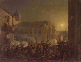 The Burning of Catania after the Town's Conquest by the Bern Regiment in 1849, 1849 (oil on canvas) 1636