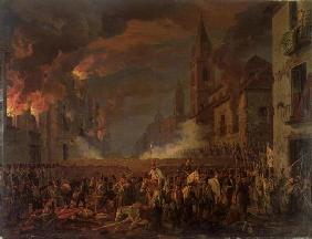 The Capture of Catania by the 4th Bern Regiment in the Night of 5th-6th April, 1849 (oil on canvas) 15th