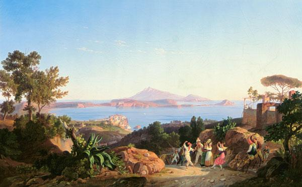 View of the Gulf of Pozzuoli with Mount Solfatara, c.1830 (oil on canvas) 19th