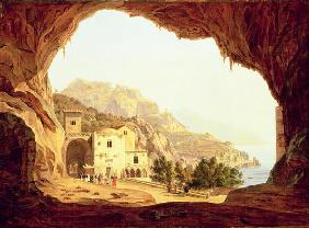 View from a Grotto over the Amalfi Coast, c.1842 (oil on canvas) 1612