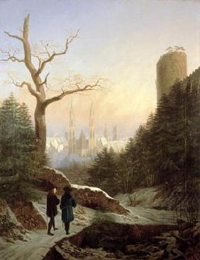 Winter Landscape with Gothic Church, 1821 (oil on canvas) 19th