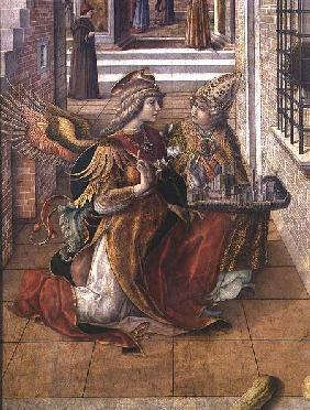 The Annunciation with St. Emidius, detail of the archangel Gabriel with the saint 1486