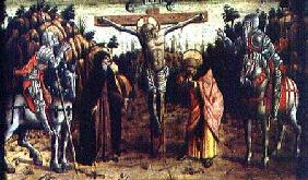 The Crucifixion, central left hand predella panel from the San Silvestro polyptych 1468